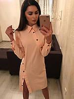 Платье нежно-персикового цвета, ткань бенгалин. Разные размеры. , фото 1