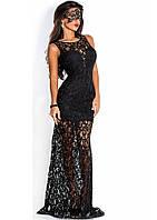 Черное облегающее платье в пол из гипюра с нижним чехлом