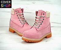 Ботинки женские Timberland, цвет - розовый, материал - нубук, утеплитель - натуральный мех