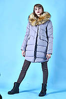 ПУХОВИК-куртка,цвет серый,зима 2018.0087