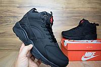 Мужские зимние ботинки Nike Huarache высокие черные с красным