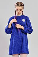 Яркое подростковое платье для девочки цвета электрик
