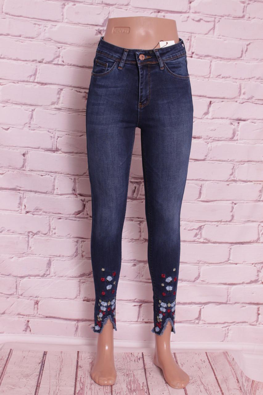 f59b466a80327 Женские джинсы американка турецкие с цветочной вышивкой по низу штанин  Hepyek (код 656) -