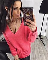 Женская вязаная кофта с открытым декольте  НОВИНКА   цвет  Розовый