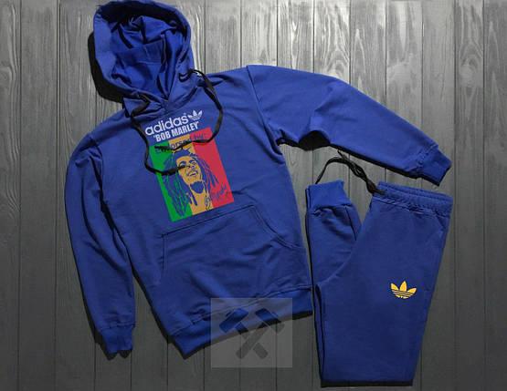 Весенний костюм спортивный Adidas с капюшоном синий топ реплика, фото 2