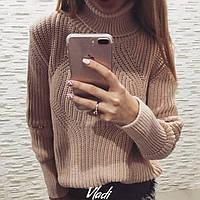 Очень теплый и удобный зимний свитер со змейкой на локтях