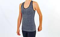 Майка для фітнесу і йоги (лайкра, р-р M-L-40-48, сірий-чорний), фото 1