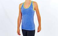 Майка для фитнеса и йоги  (лайкра, р-р M-L-40-48, синий-салатовый), фото 1