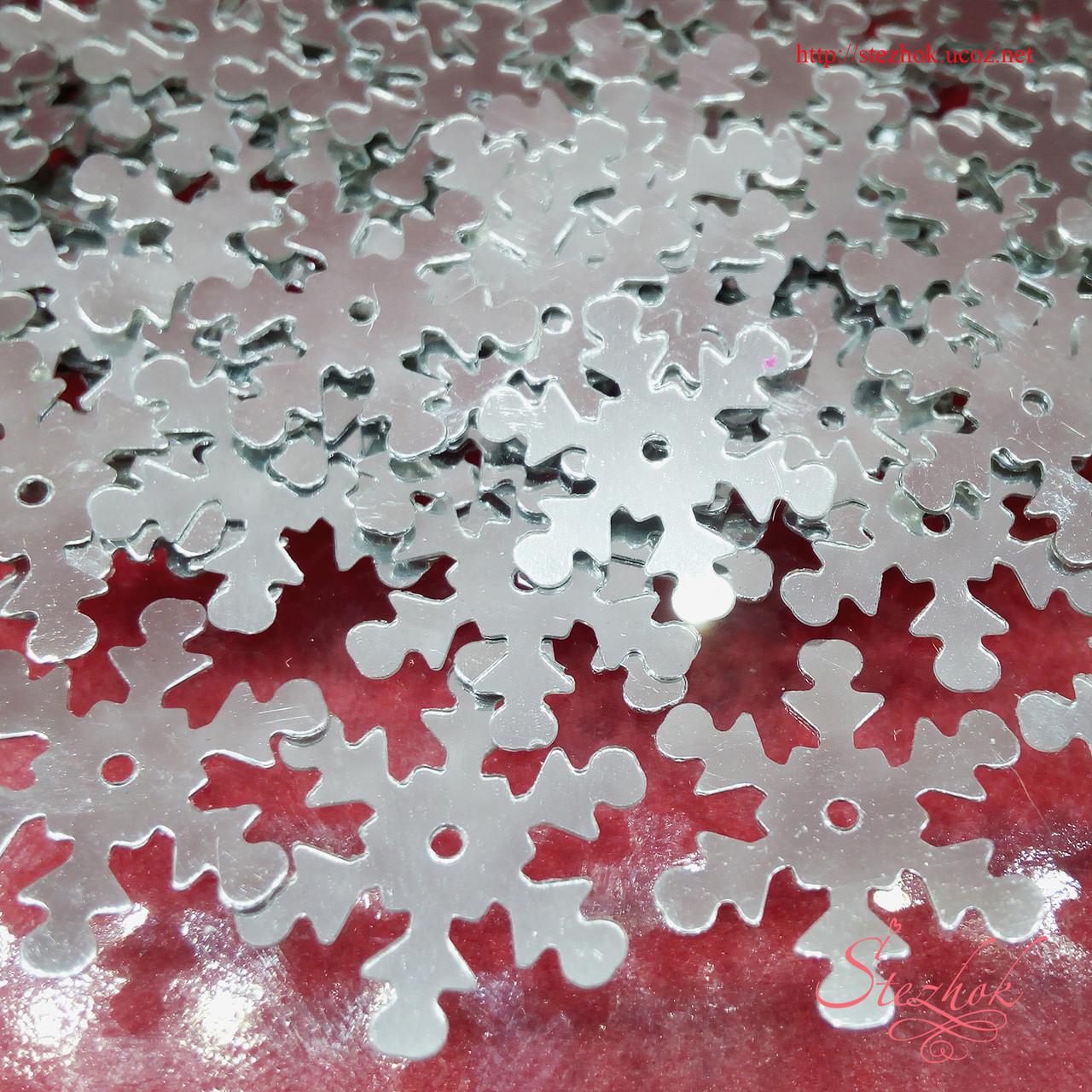 Акриловые пайетки снежинка для декора 15мм для рукоделия цвет серый зеркальный