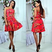 Платье мини, лёгкое короткое платье с ярким цветочным принтом. Разные размеры., фото 1