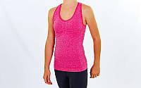 Майка для фитнеса и йоги (лайкра, M-L-40-48, малиновый-малиновый)