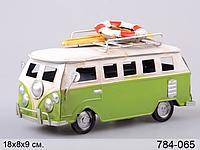 Автомобиль металл Автобус 18*8*9 см зел.