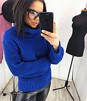 Женский свитер вязанный с широким горлом НОВИНКА   цвет Синий Электрик