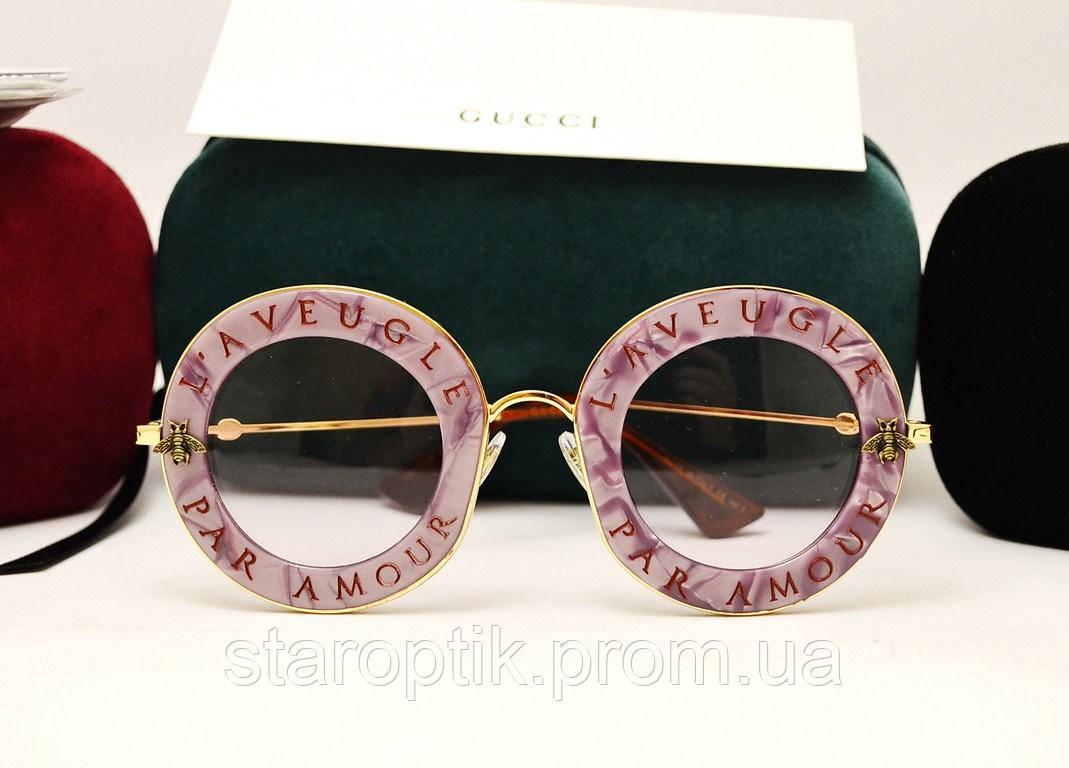 c98e5019f8d0 Женские солнцезащитные очки Gucci GG 0113S L Aveugle par amour  (сирень-перламутр)