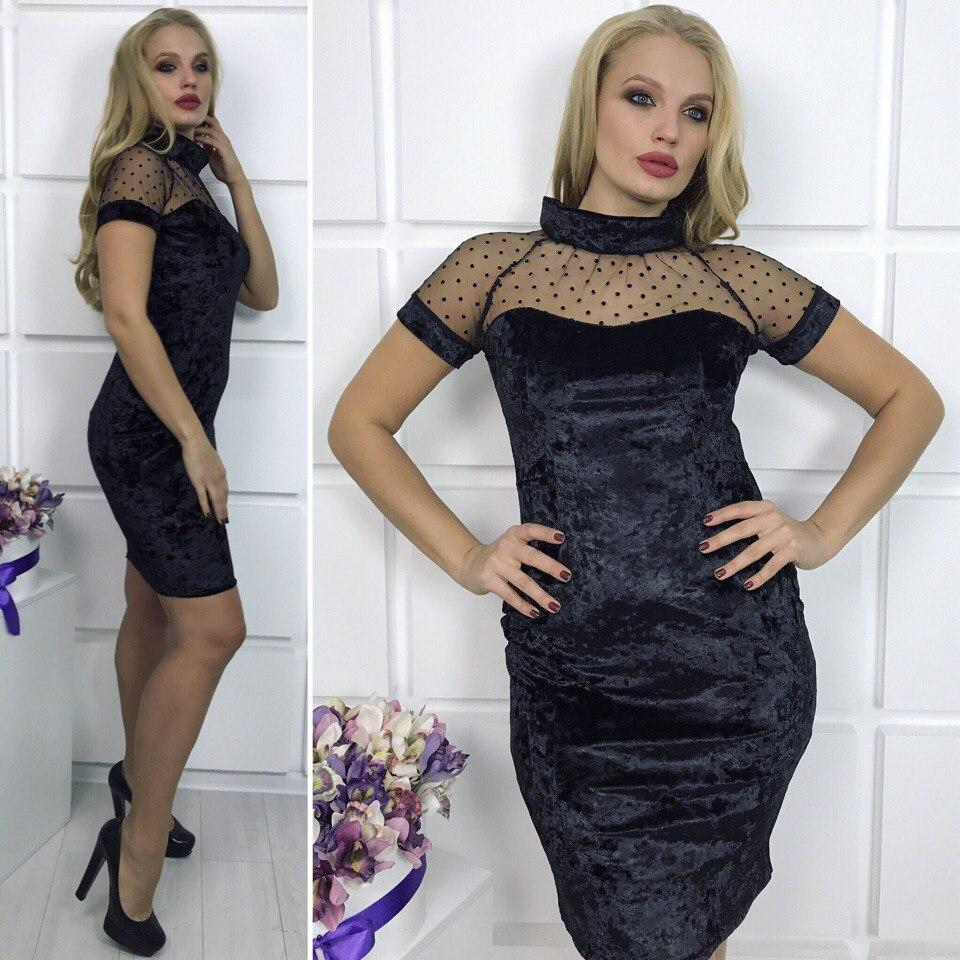 Платье №3653Д (р-р.48,50,52) Ткань: бархат+сетка. Цвета в ассортименте
