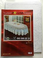 Скатерть Виниловая овальная 150х225 белая