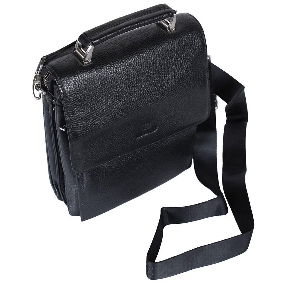 Мужская кожаная сумка из плотной кожи черная с ручкой Lare Boss LB0049611-41 4