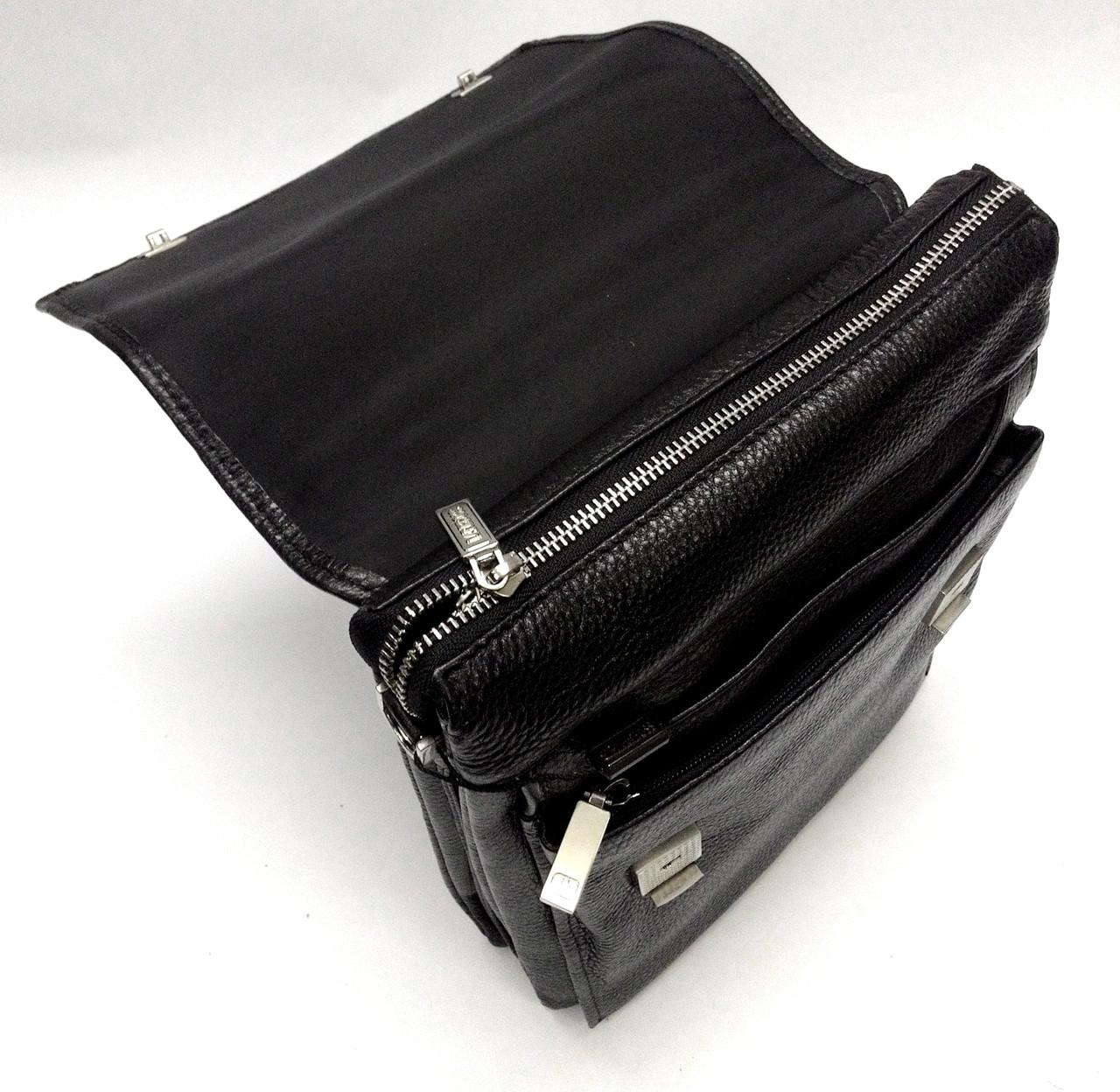 Мужская кожаная сумка из плотной кожи черная с ручкой Lare Boss LB0049611-41 6