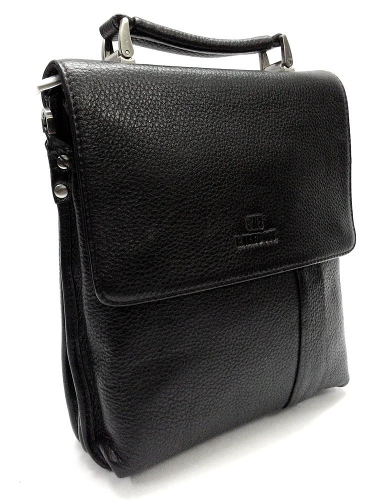 Мужская кожаная сумка из плотной кожи черная с ручкой Lare Boss LB0049560-31 2