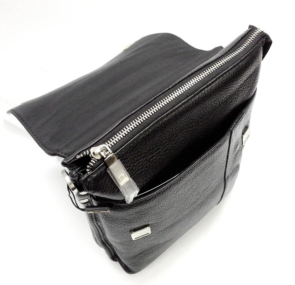 Мужская кожаная сумка из плотной кожи черная с ручкой Lare Boss LB0049560-31 6