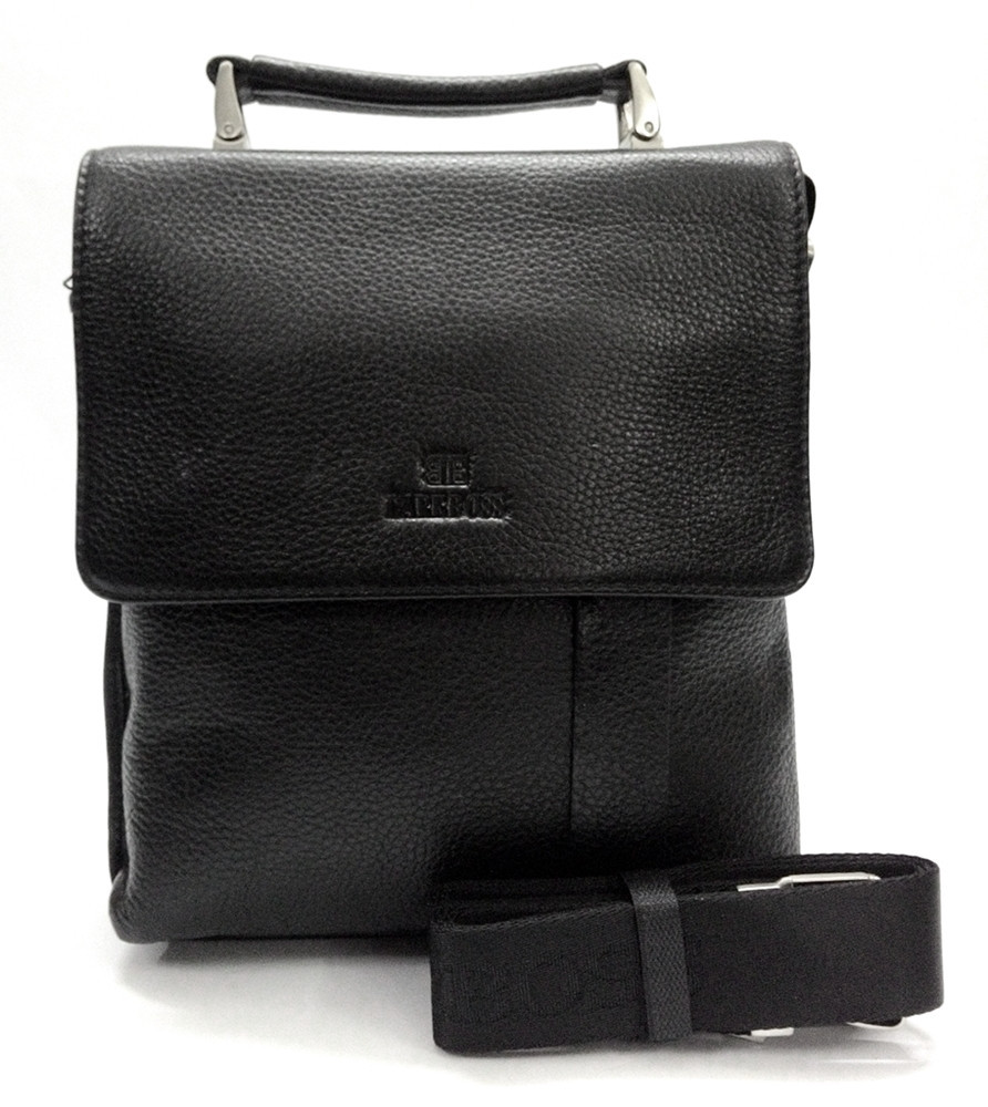 Мужская кожаная сумка из плотной кожи черная с ручкой Lare Boss LB0049560-31 9