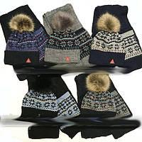 Вязанный зимний комплект: шапка с помпоном + шарфик  50-52 см