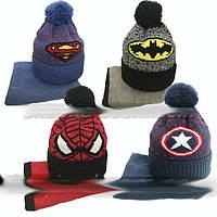 Вязанный зимний комплект: шапка с помпоном + хомут  52-54 см