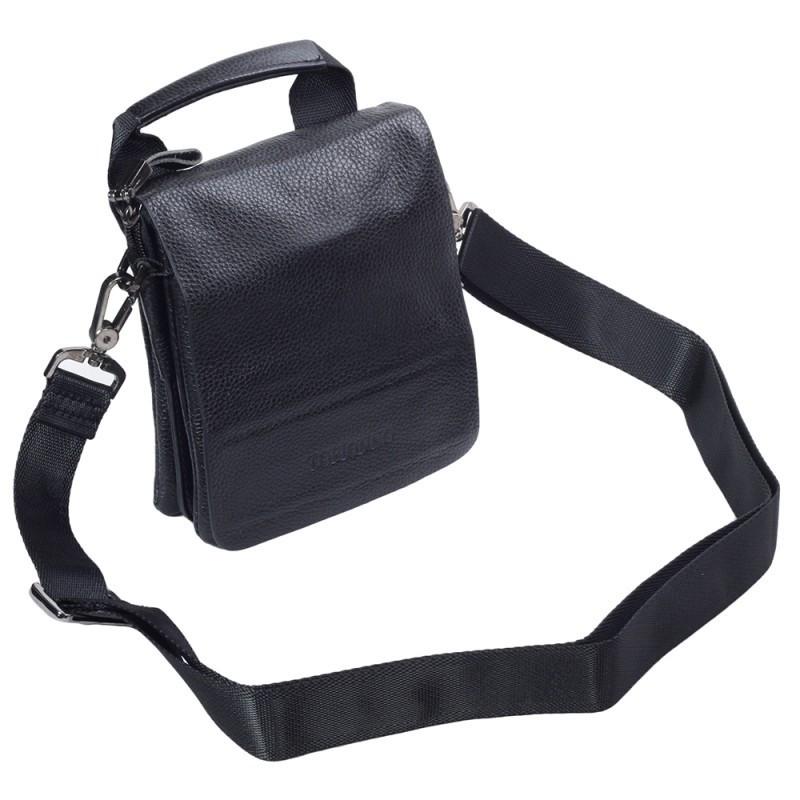 c4d6c9798620 ... Небольшая мужская кожаная сумка-барсетка черная Tofionno TF003011-11 4  ...
