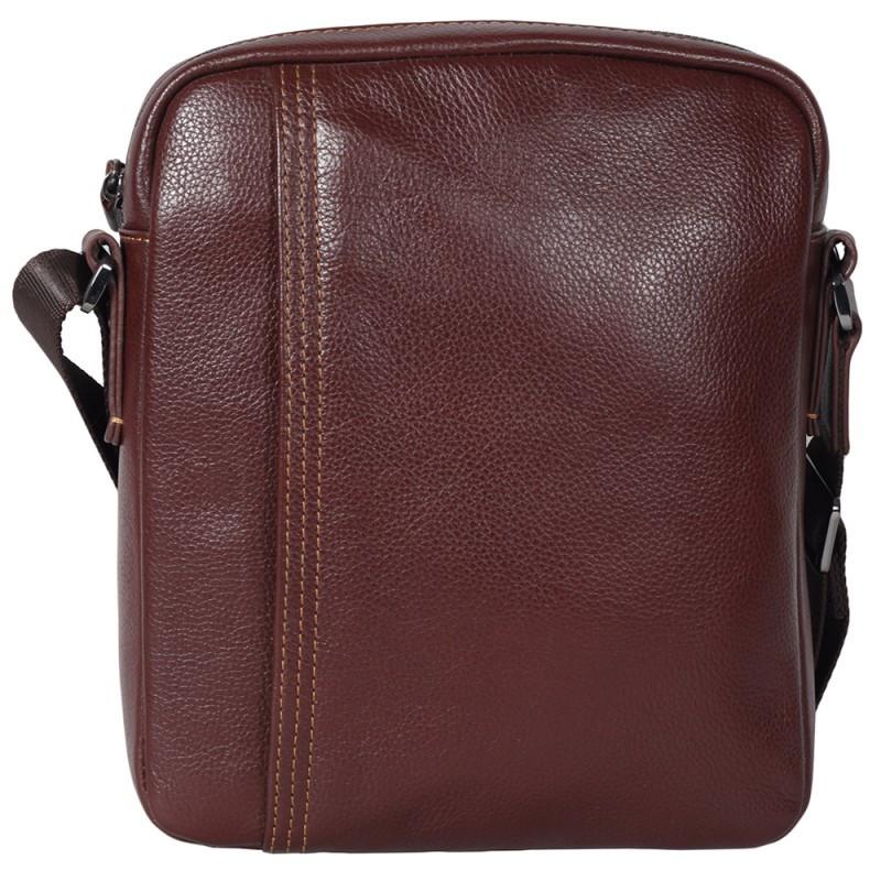 202d8c287dd9 Повседневная мужская кожаная сумка через плечо коричневая Tofionno  TF003300361
