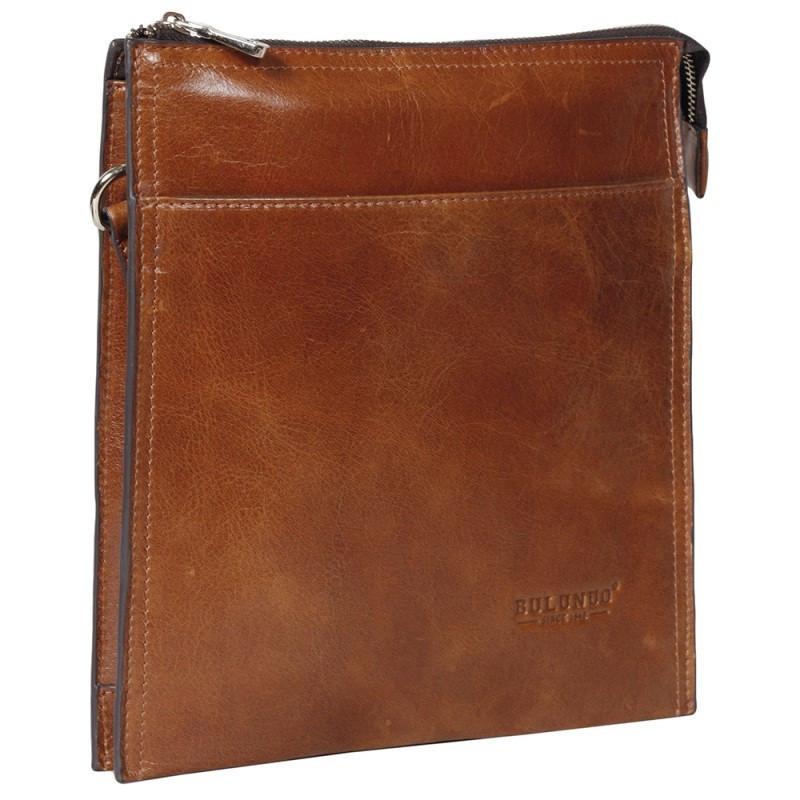 Эксклюзивная мужская кожаная сумка рыжая глянцевая Bulunuo BL005865-31