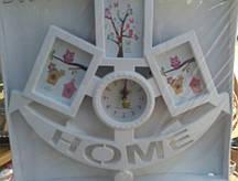 Фоторамка колаж з годинником Home на 3 фото