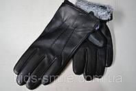 Мужские перчатки из стрейч кожи с набивной махрой