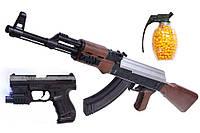 Детский пистолет, винтовка АК 47 + Р99 3в1 + граната з пульками!