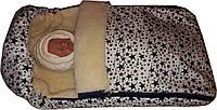 Зимний конверт на овчине для новорожденного на выписку из роддома. Белый звёзды