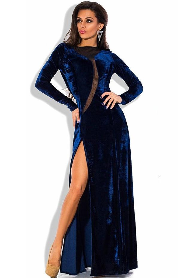 Бархатное эксклюзивное вечернее платье синего цвета