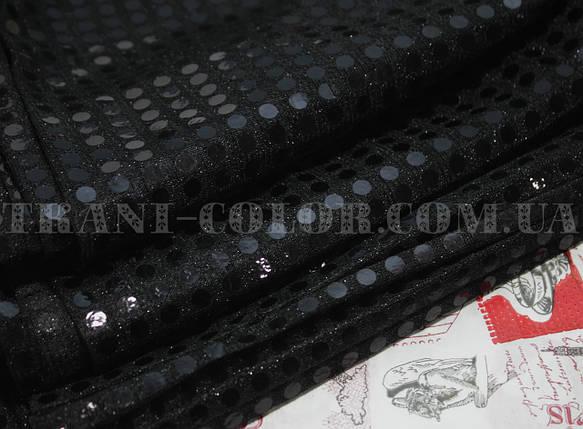 """Ткань с пайетками """"Копейка"""" черная, фото 2"""