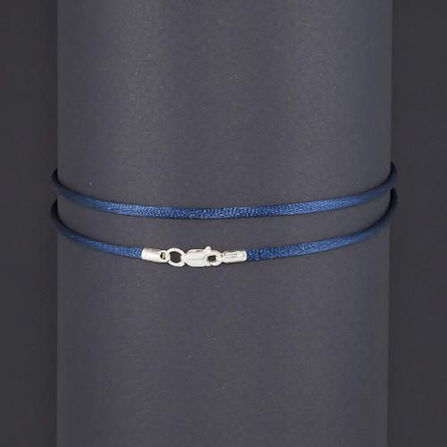 Шелковый синий шнурок с серебром