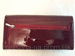 Бордовое портмоне лакированная кожа