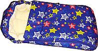 Меховой конверт для новорожденного на выписку из роддома. Электрик звёзды