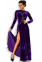 Бархатное эксклюзивное вечернее платье фиолетового цвета
