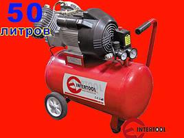 2-х цилиндровый масляный компрессор на 50 литров, 8 атм. Intertool PT-0007