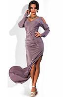 Платье в пол облегающее с боковым разрезом