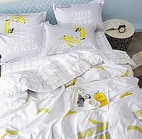 Постельное белье Бананчики саржа 100% хлопок комплект полуторный кровать 1.2-1.5м