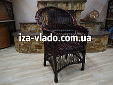 Кресло плетеное из лозы — тёмный лак, фото 3