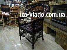 Кресло плетеное из лозы — тёмный лак, фото 2