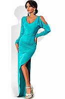Платье в пол облегающее с боковым разрезом бирюзовое