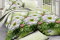 """Полуторное постельное белье """"Gold"""" цветы на пруду"""