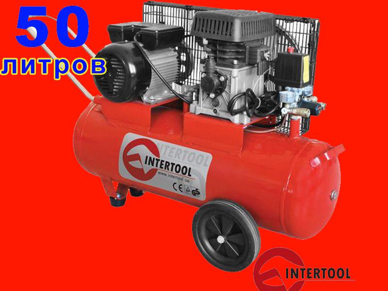 2-х цилиндровый ременной компрессор на 50 литров Intertool PT-0011