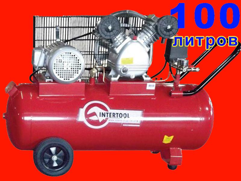 2-х циліндровий ремінною компресор на 100 літрів, 380 Вольт Intertool PT-0013