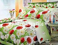 Постельное белье полуторное GOLD - тюльпаны